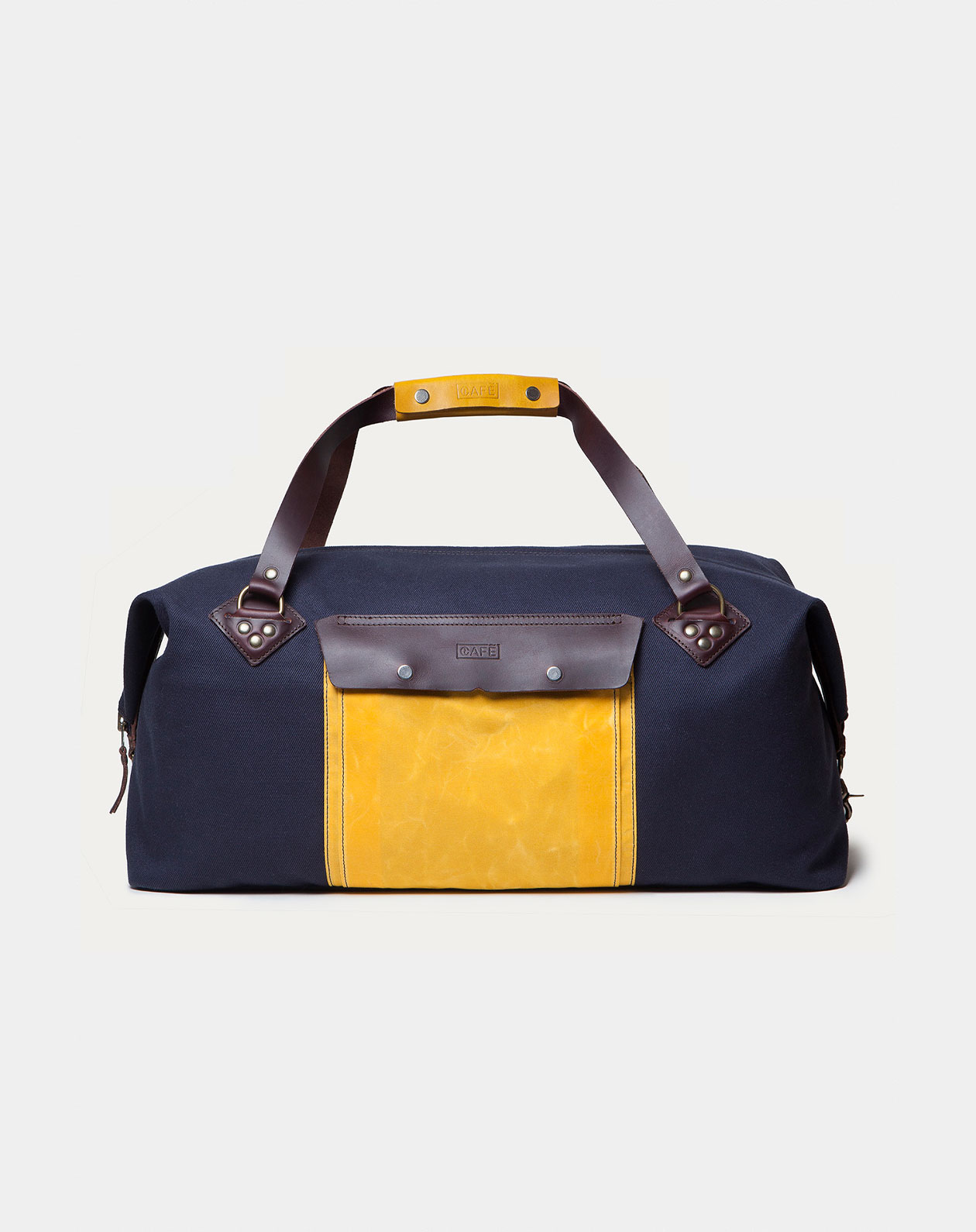 waxed canvas weekender navy front
