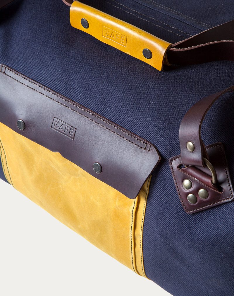 waxed canvas weekender navy handle detail