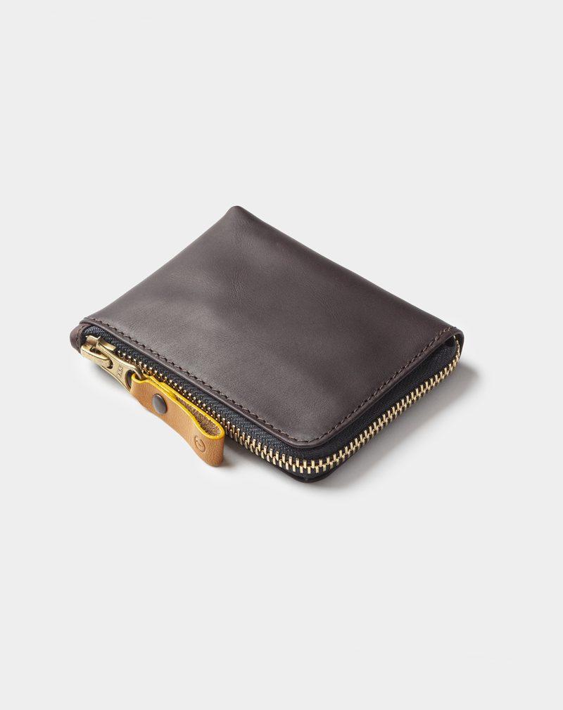 leather zip wallet black coffee