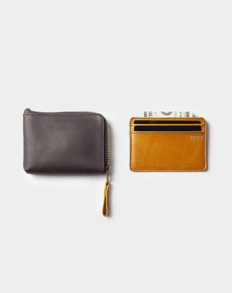 leather zip wallet black coffee side