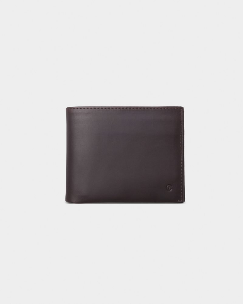 leather billfold dark brown front