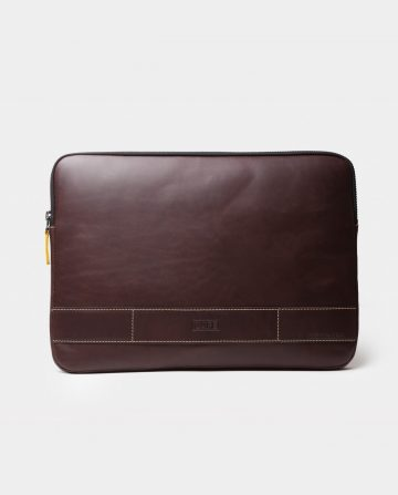 leather portfolio black front