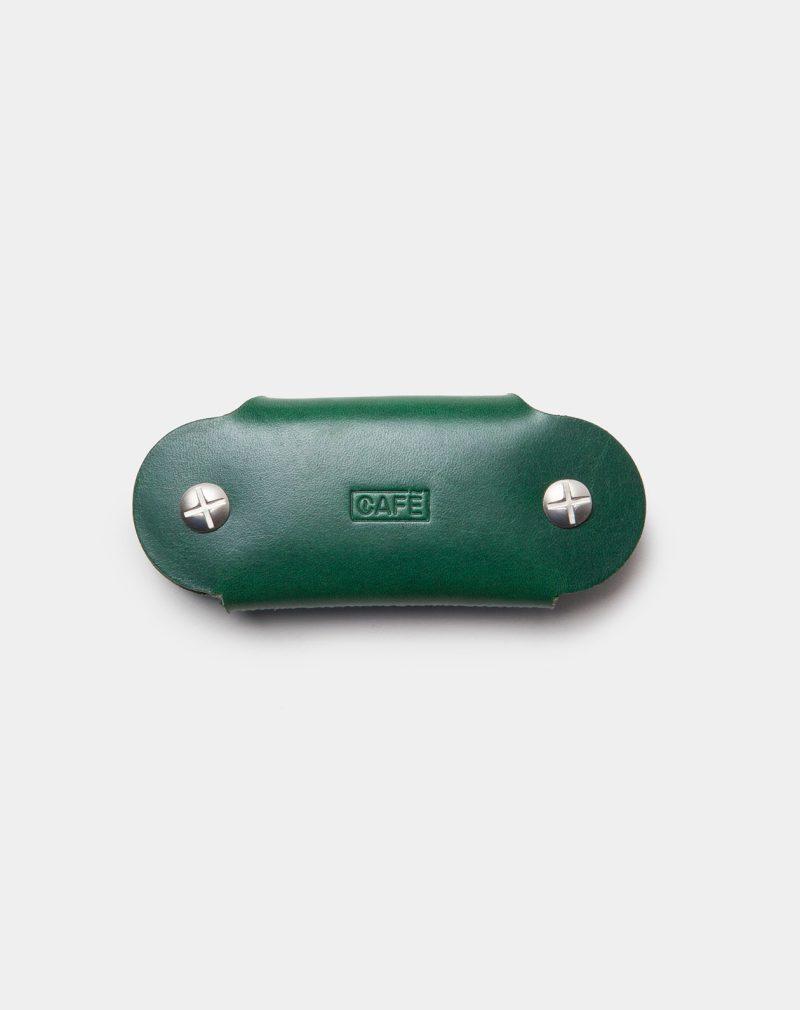 funda de piel verde para llaves cerrada trasera