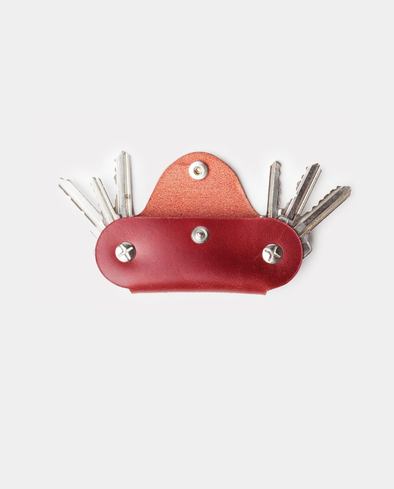 funda de piel roja para llaves cerrada llaves