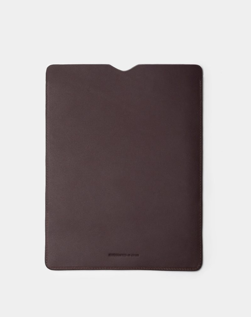 ipad leather case dark brown back
