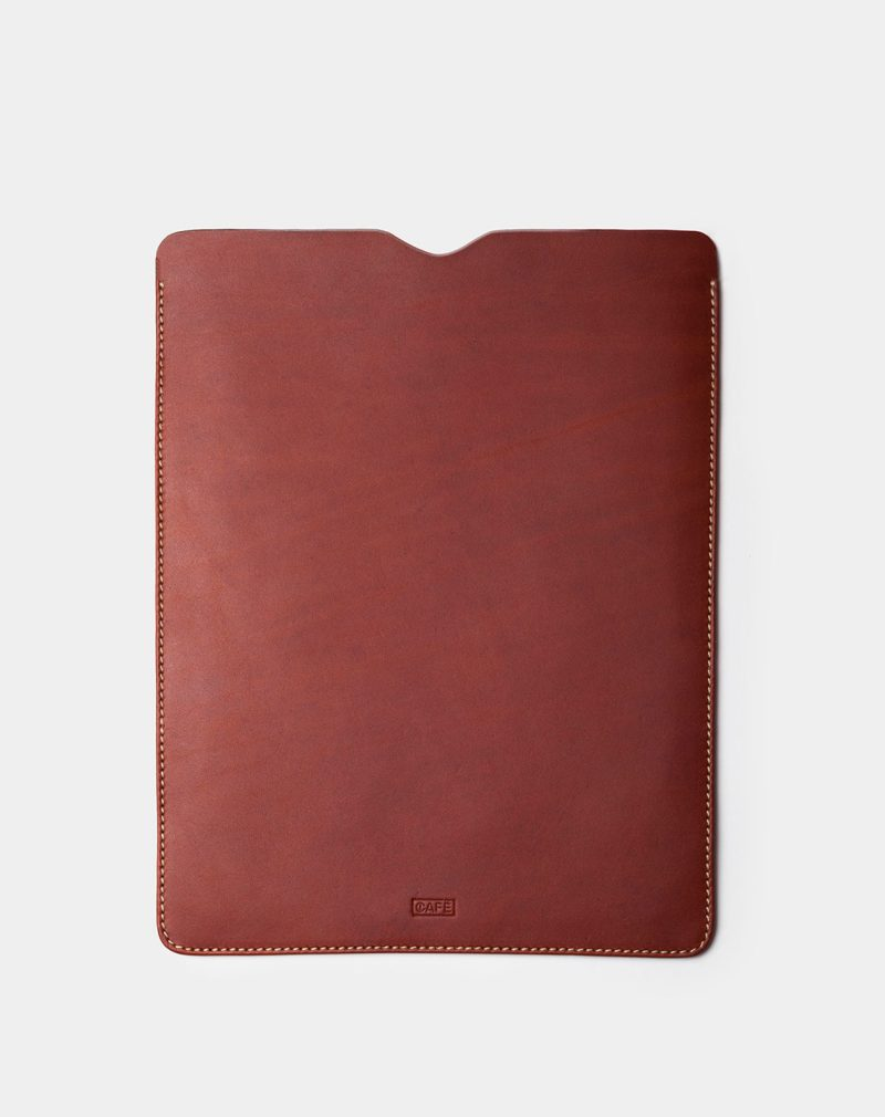 ipad case brown leather front