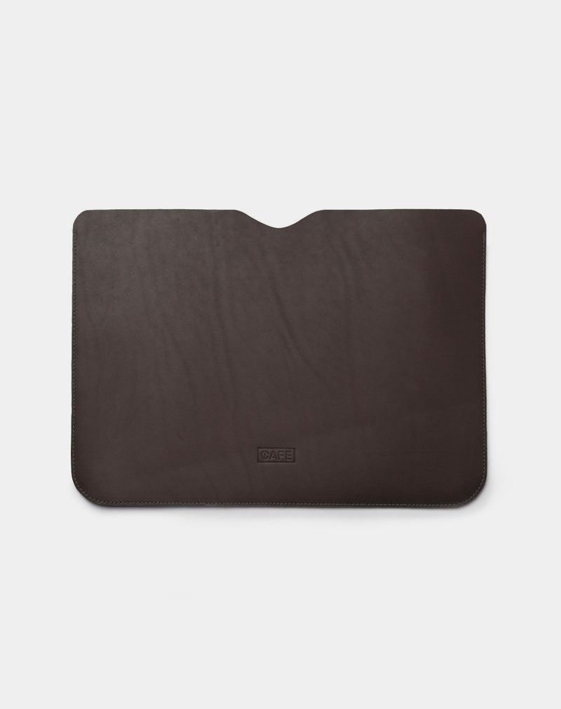 laptop case leather black front