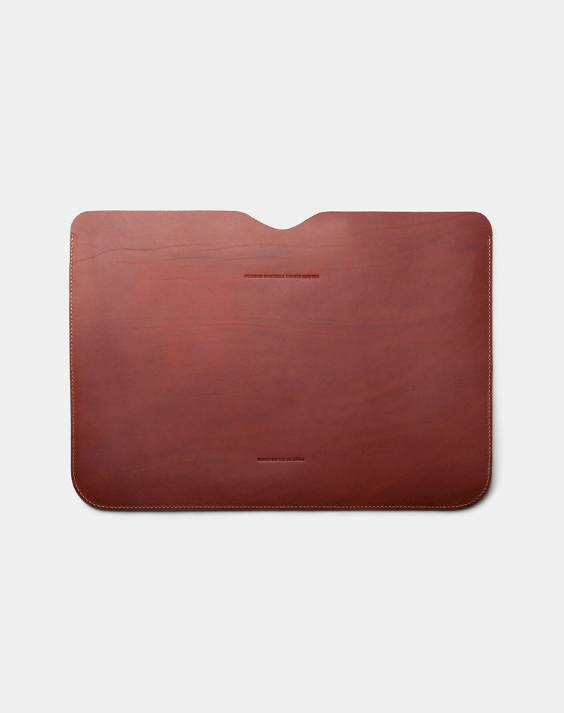 laptop case leather brown back
