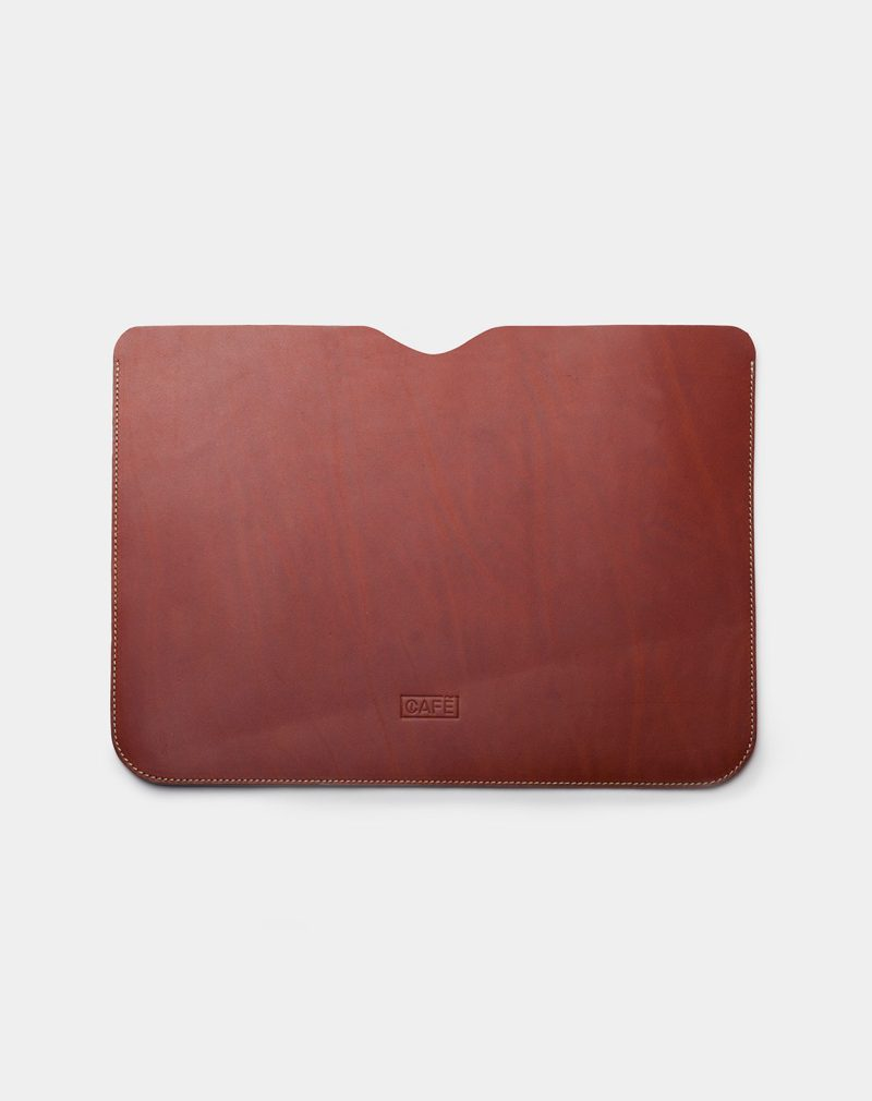 laptop case leather brown front
