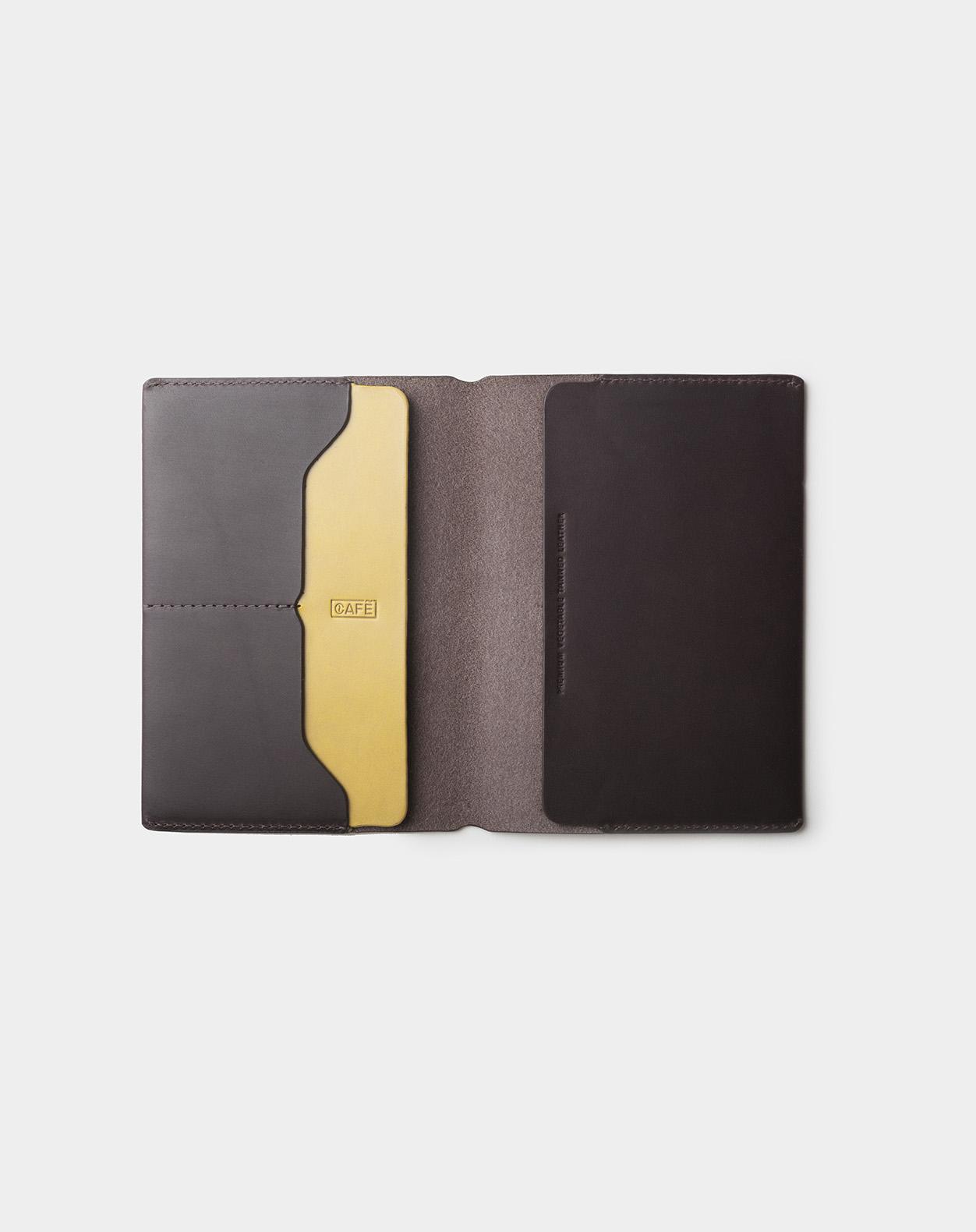 travel wallet open black coffee