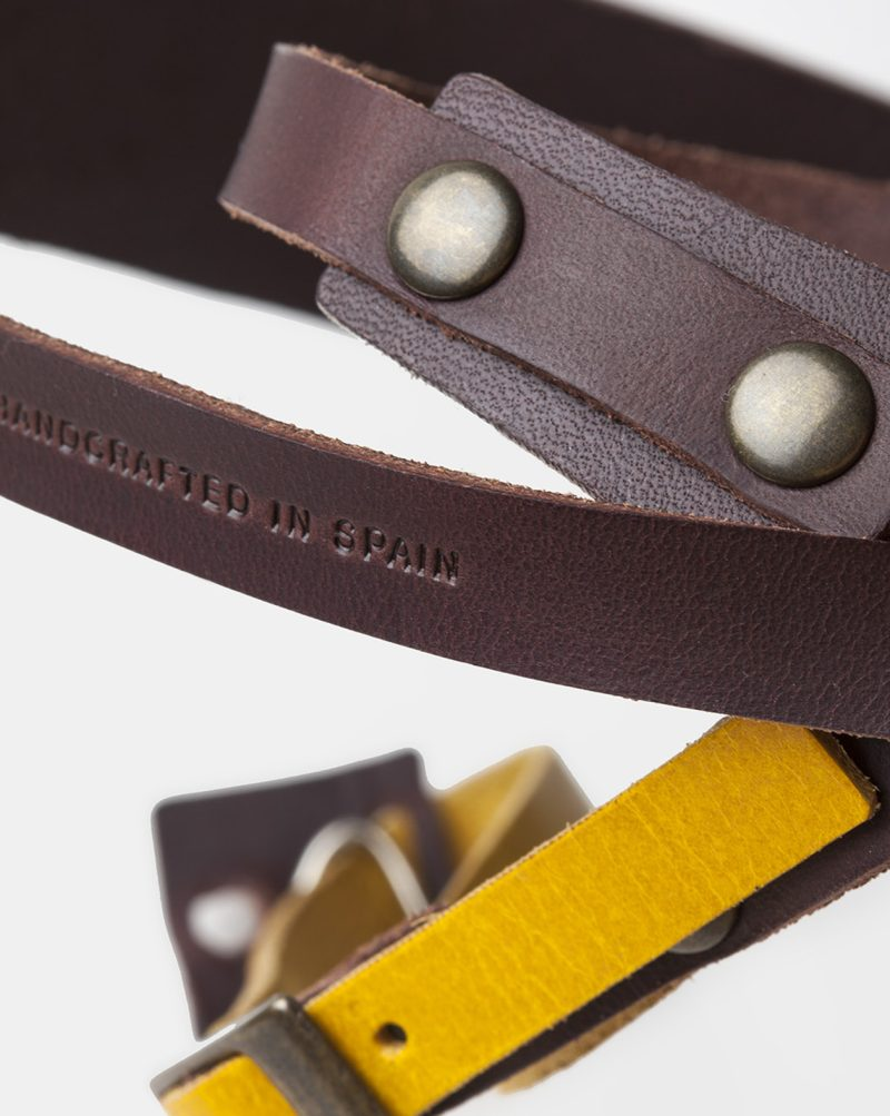 camera leather strap brown detail