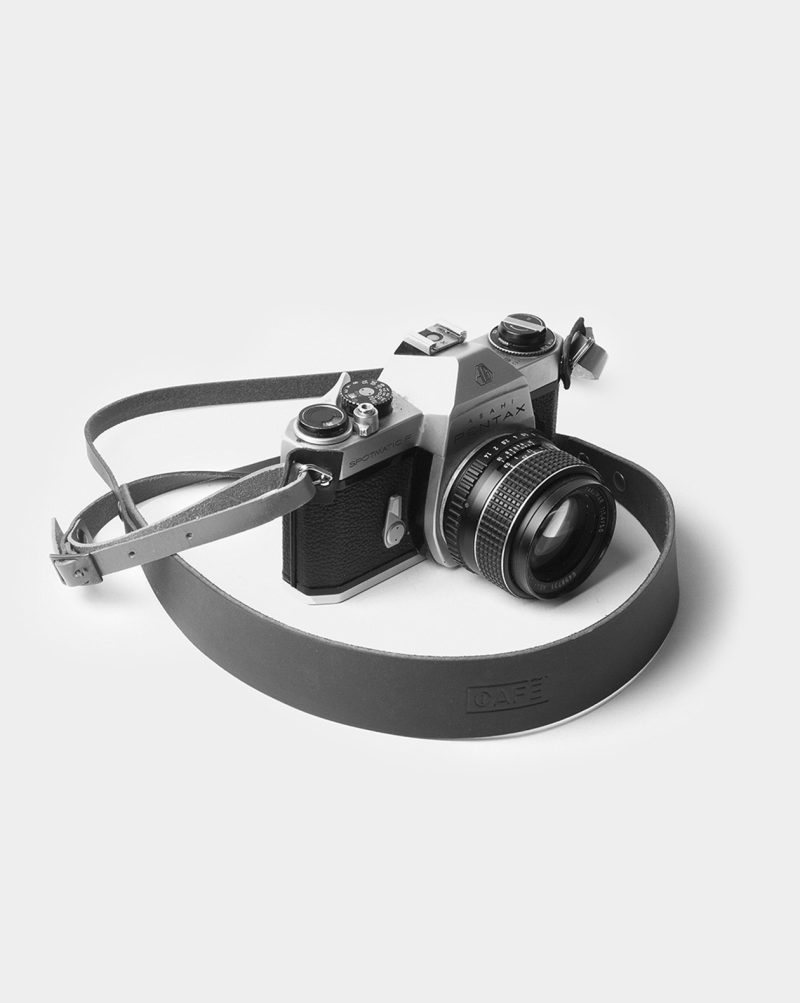 camera strap leather black and white