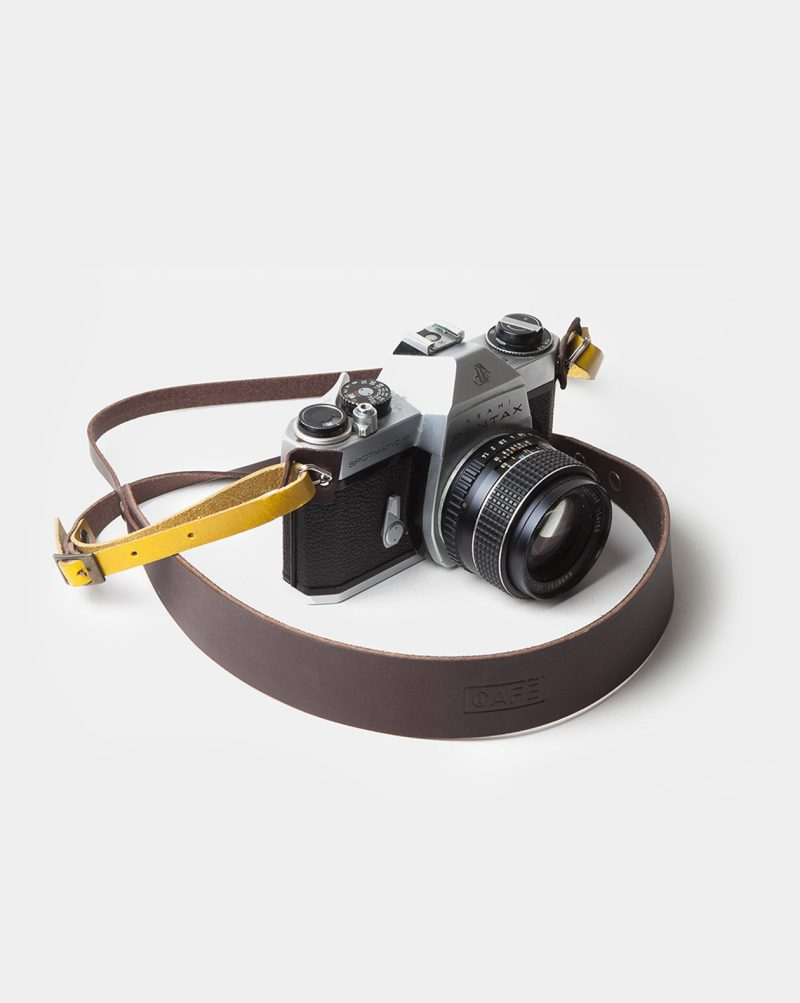 camera strap leather brown on