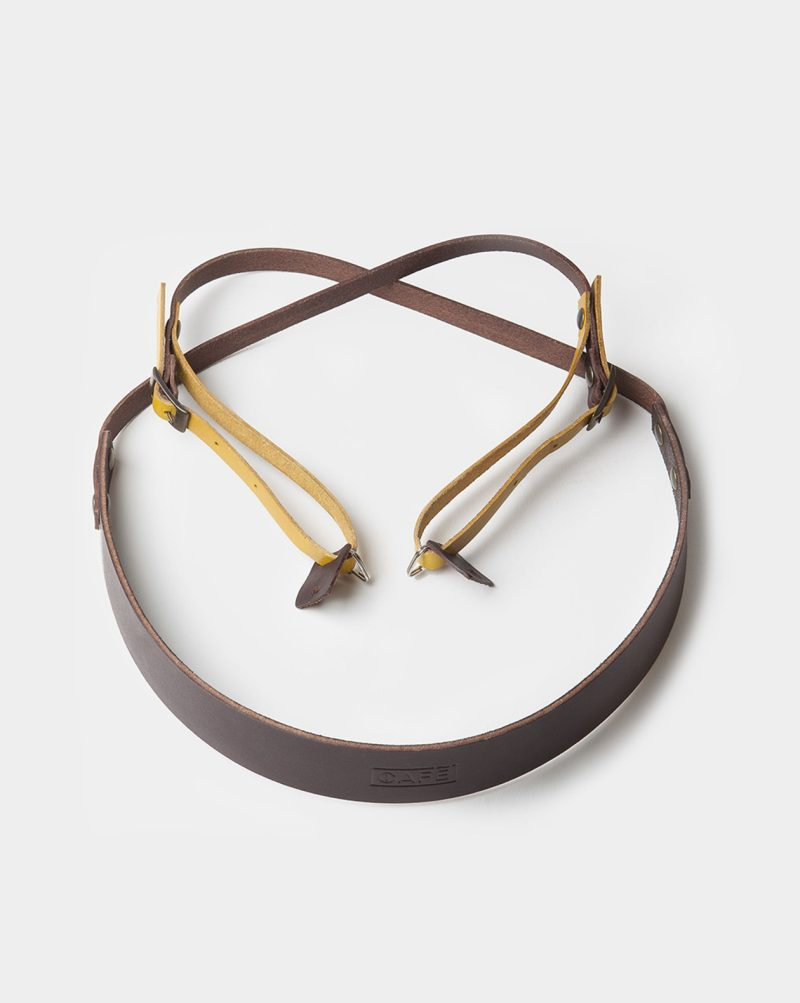 camera strap leather brown yellow