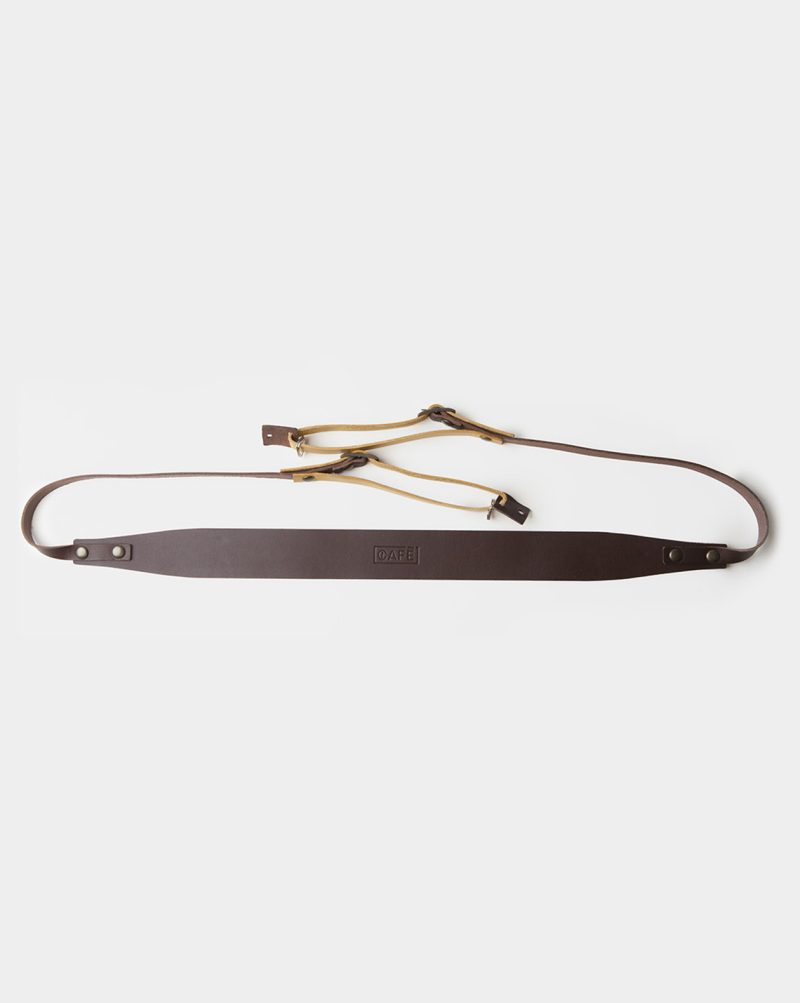 camera strap leather brown yellow top