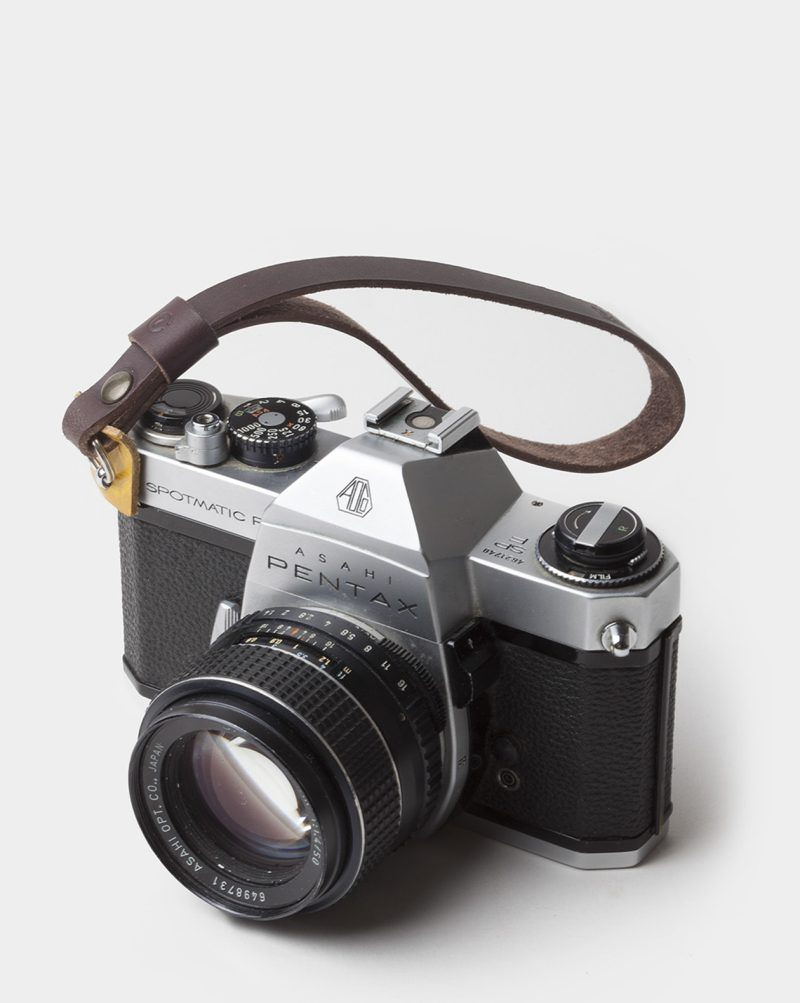 leather wrist camera strap dark-brown
