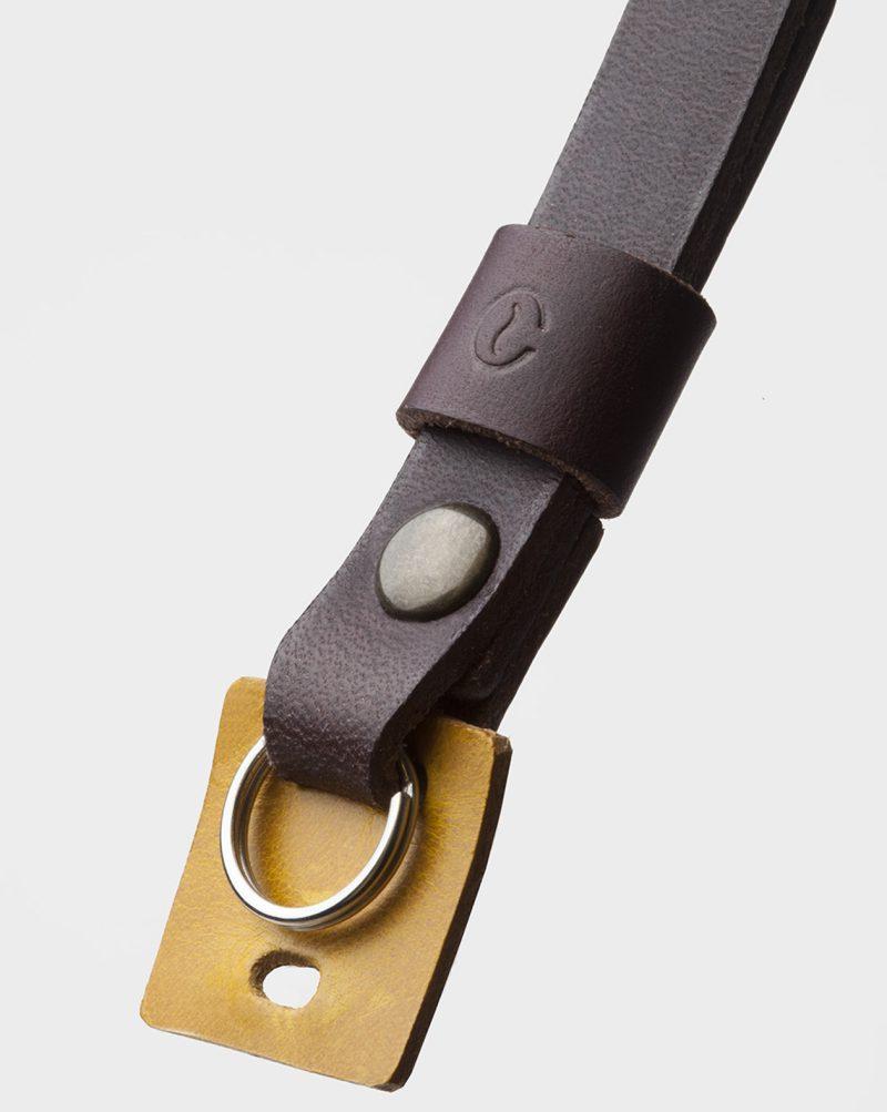 leather wrist camera strap detail