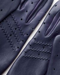driving gloves blue leather back detail