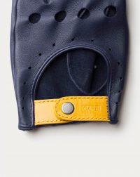 driving gloves blue leather detail wrist