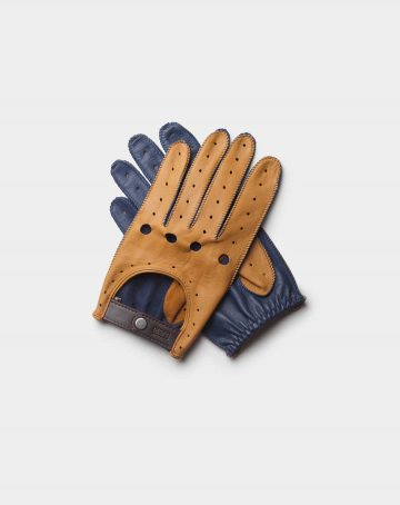 driving gloves blue and brown leather