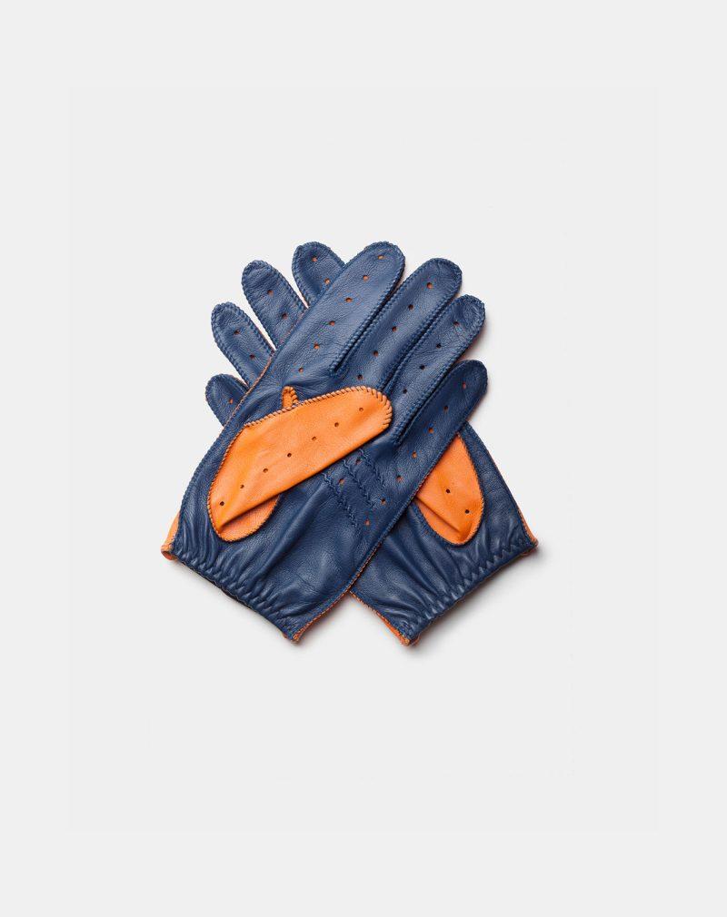 driving gloves orange blue back