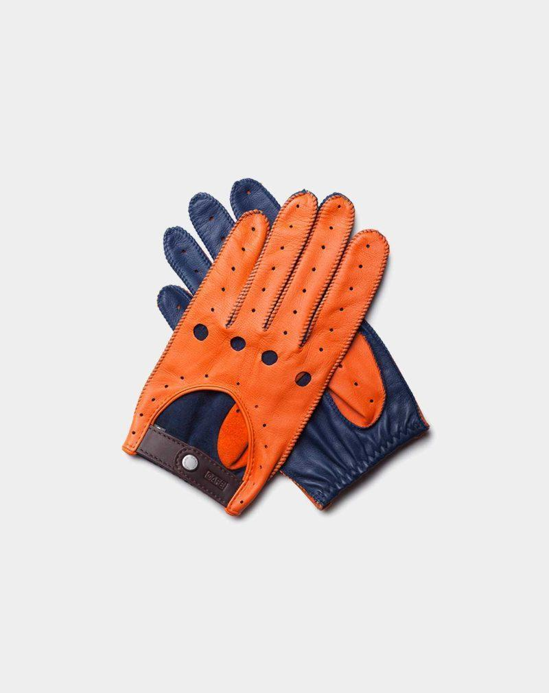 driving gloves orange and blue