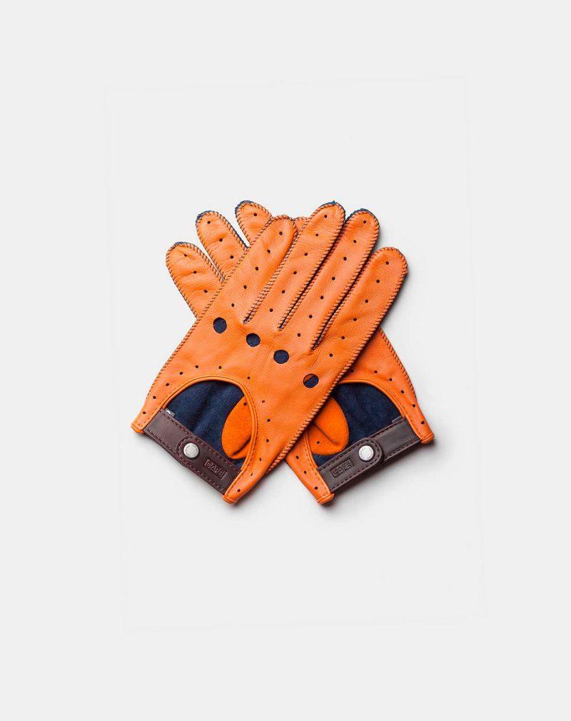 driving gloves orange blue front both