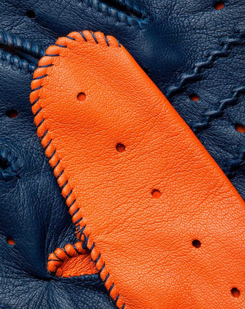 Guantes de conducir naranja y azul dedos