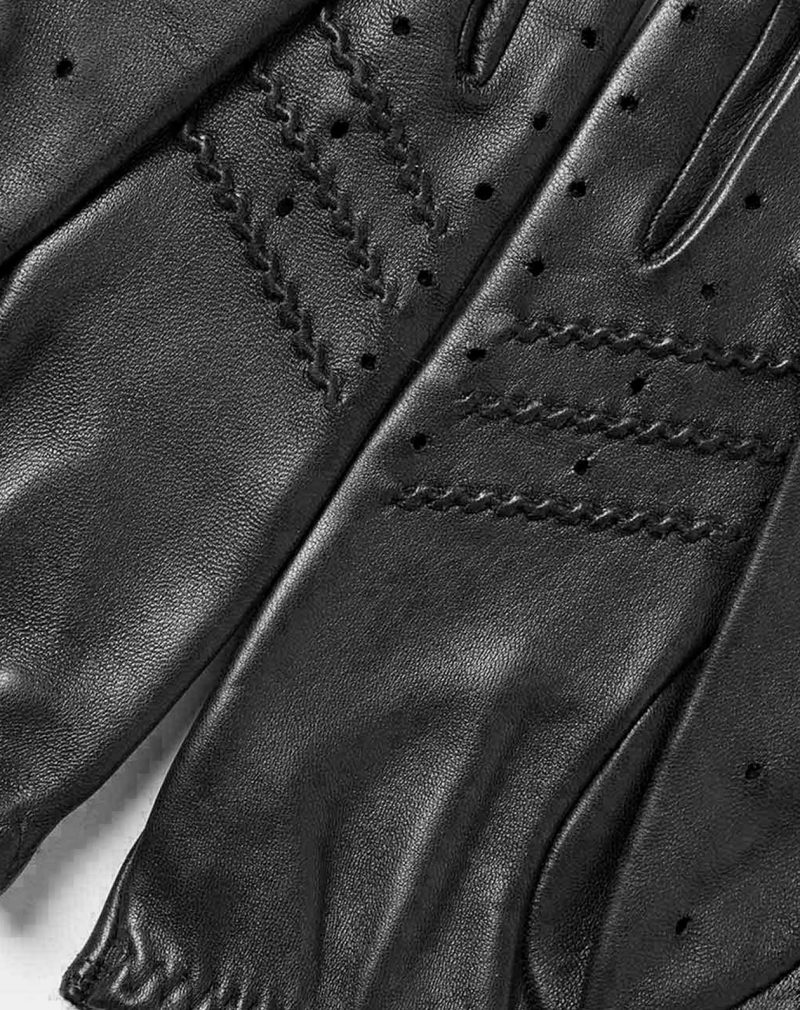 All Black leather driving gloves detail handcrafted in Spain