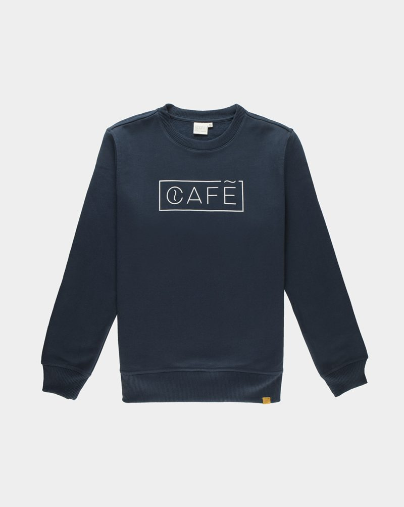 organic cotton sweatshirt blue cafe logo