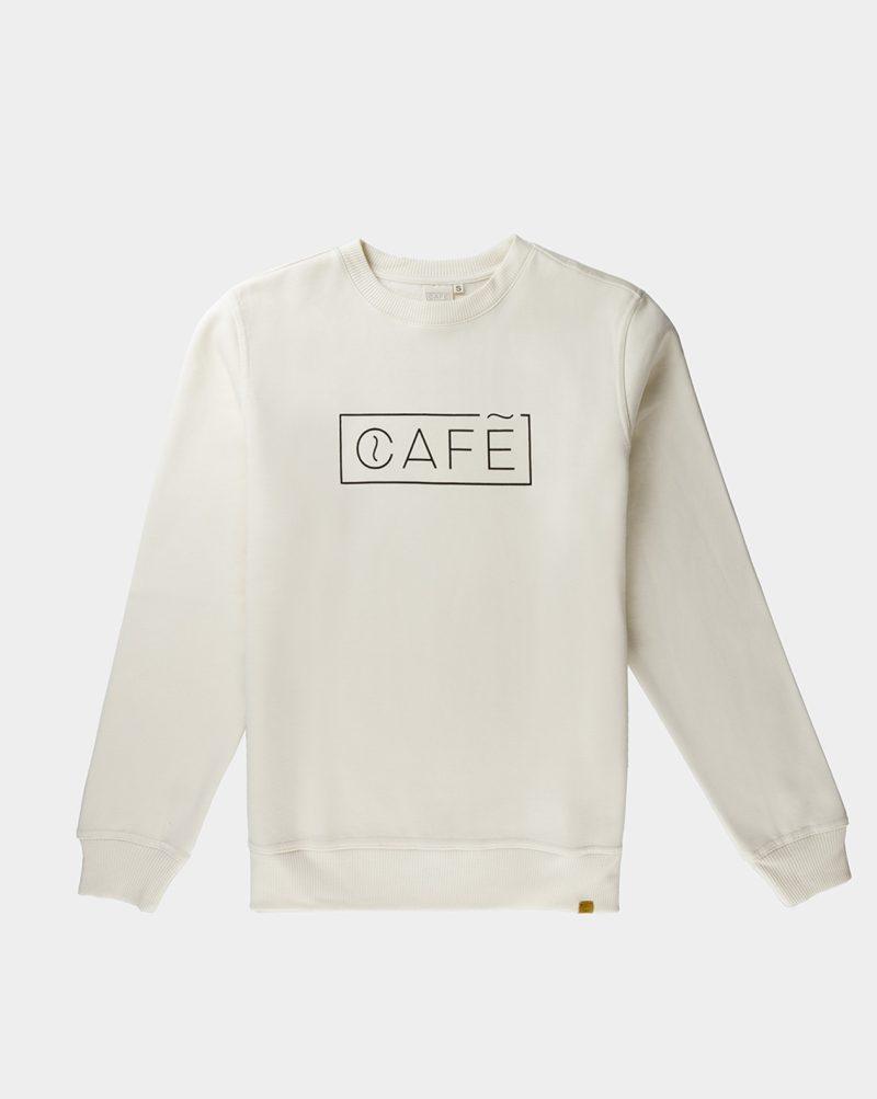 organic cotton sweatshirt white cafe logo