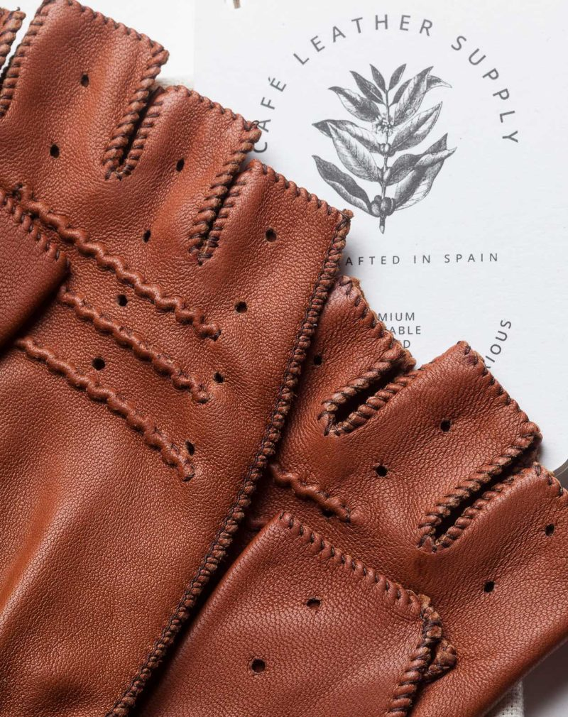 brown fingerless leather driving gloves details