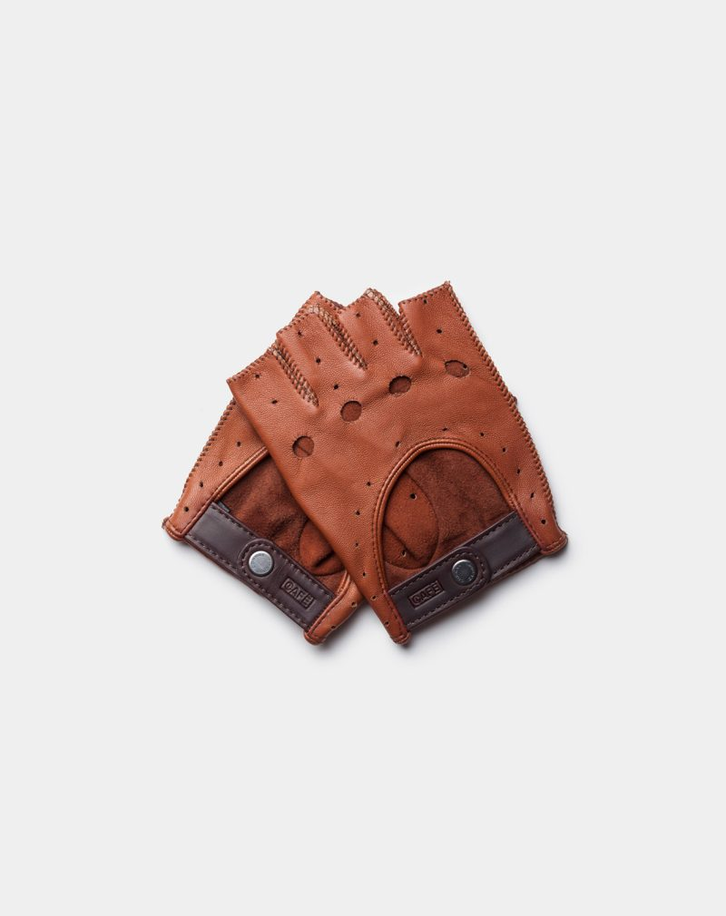 fingerless leather driving gloves brown