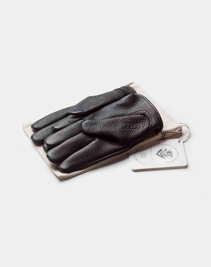 cafe racer deerskin gloves black front