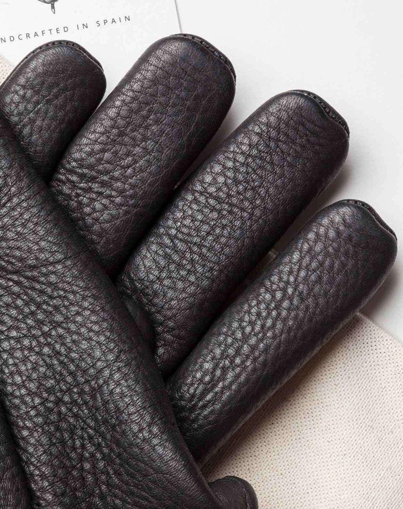 cafe racer deerskin gloves black leather