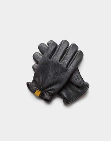 deerskin gloves black front