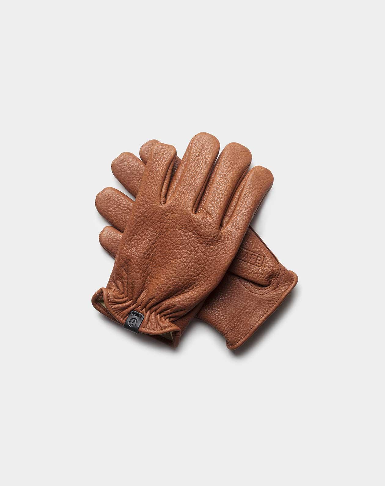 deerskin gloves brown front