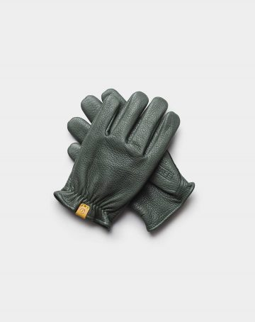 deerskin gloves green front