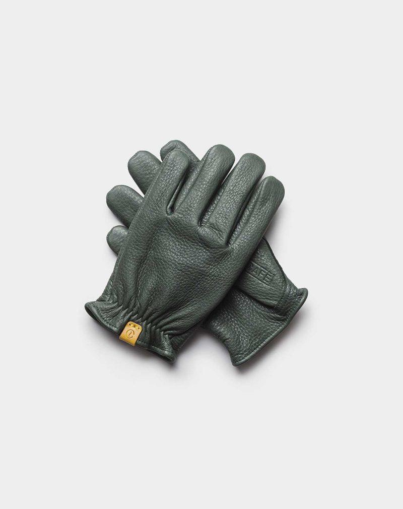deerskin gloves green front