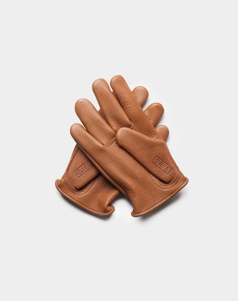 elkskin gloves brown back