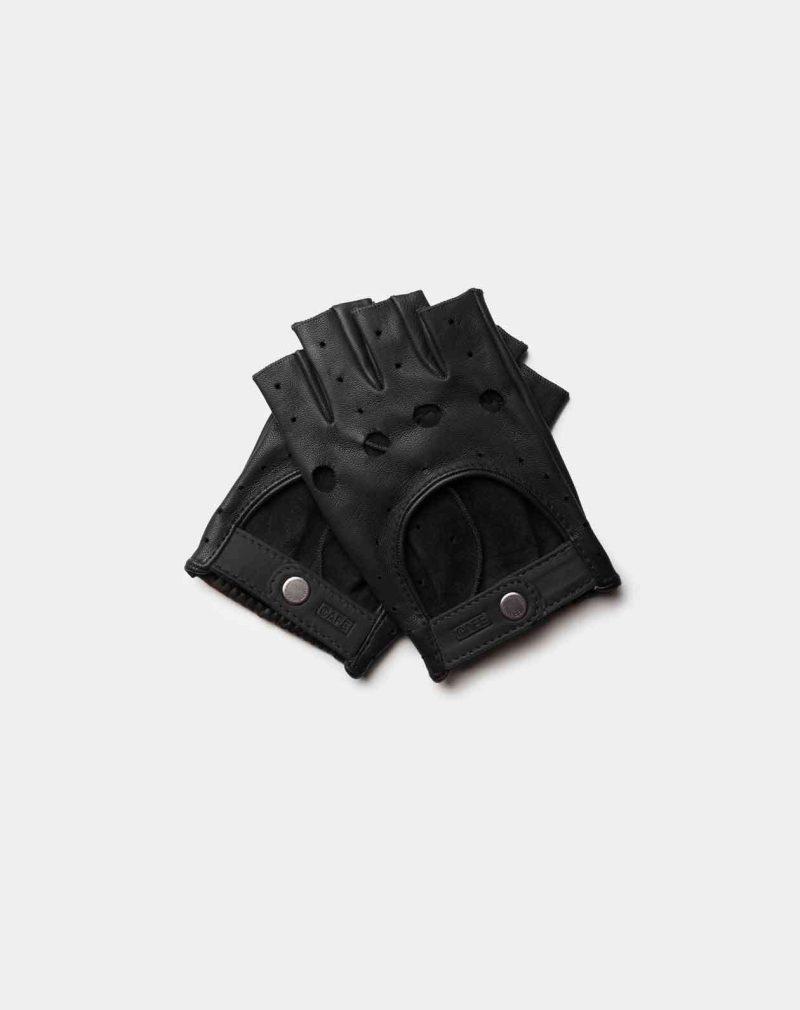 fingerless driving gloves all black front