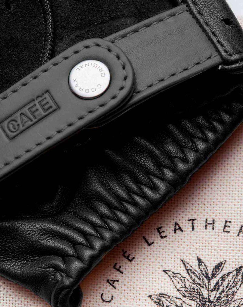 fingerless driving gloves all black detail