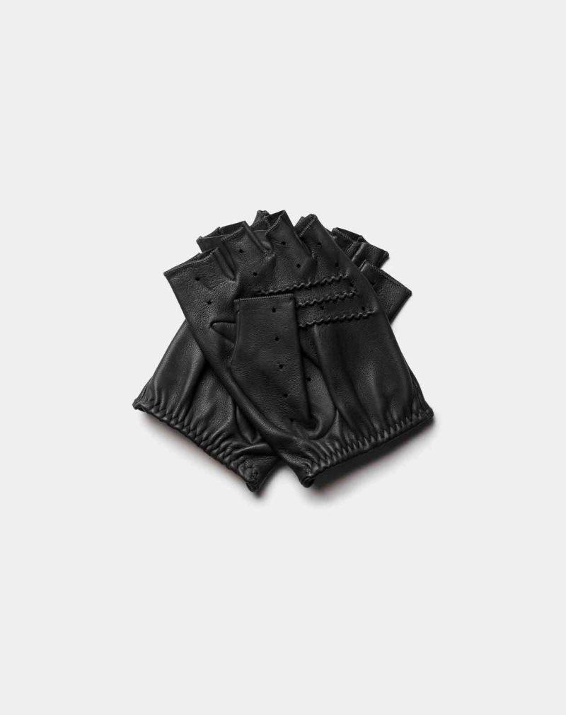 fingerless driving gloves all black back