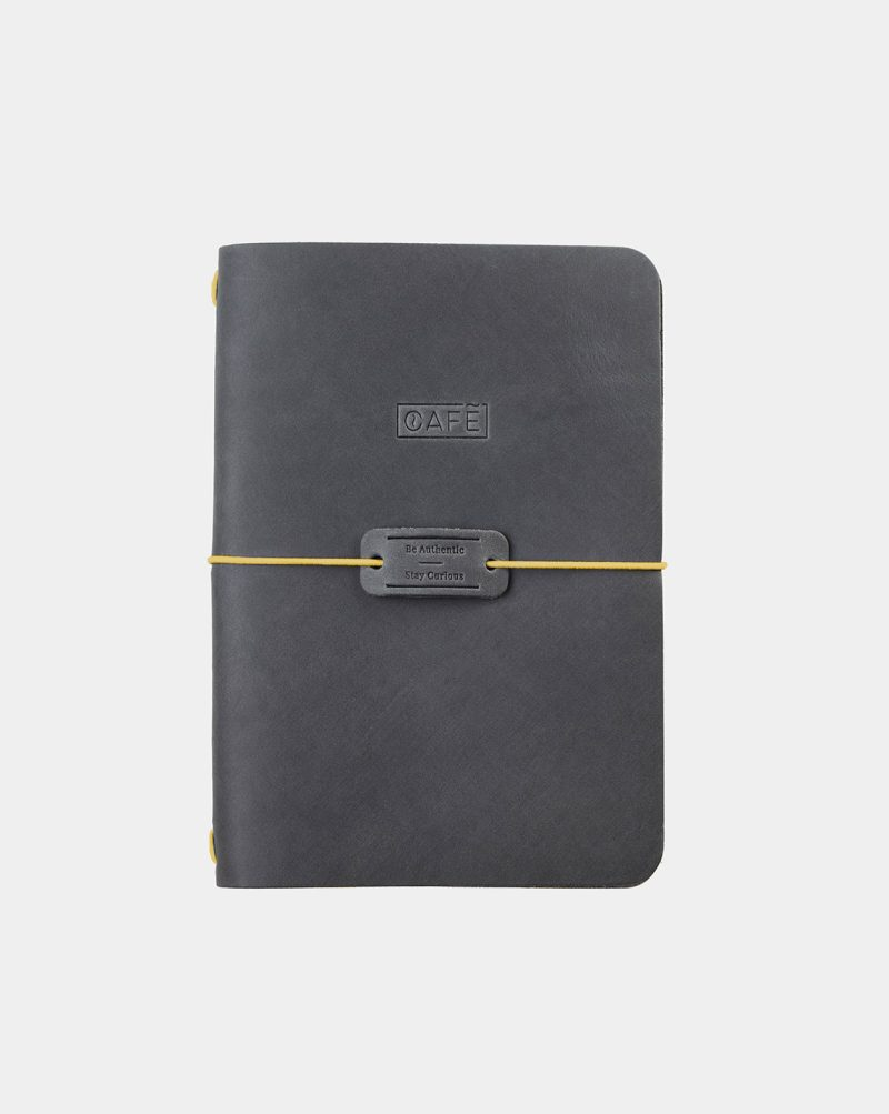 leather notebook grey front