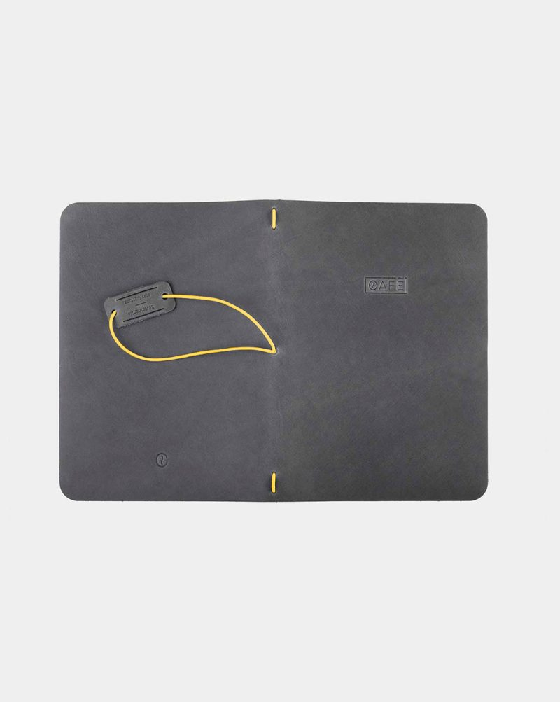 leather notebook grey open