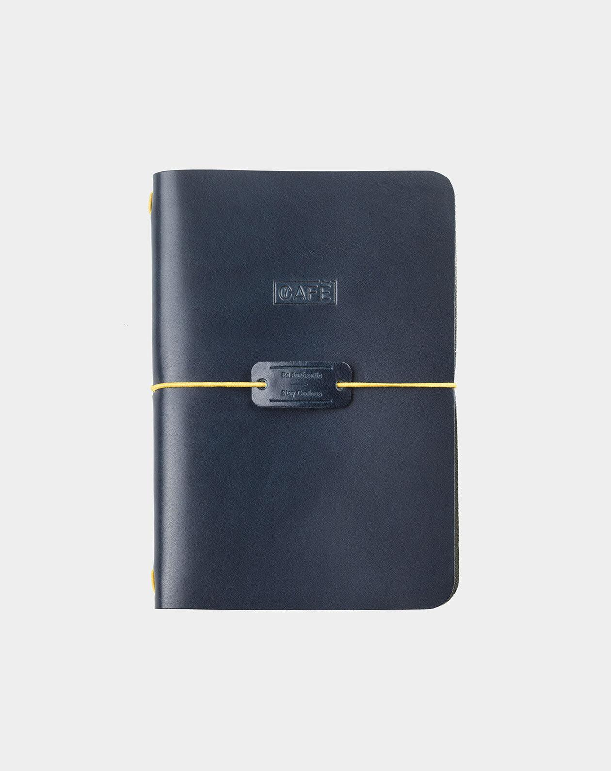 handmade leather notebook blue