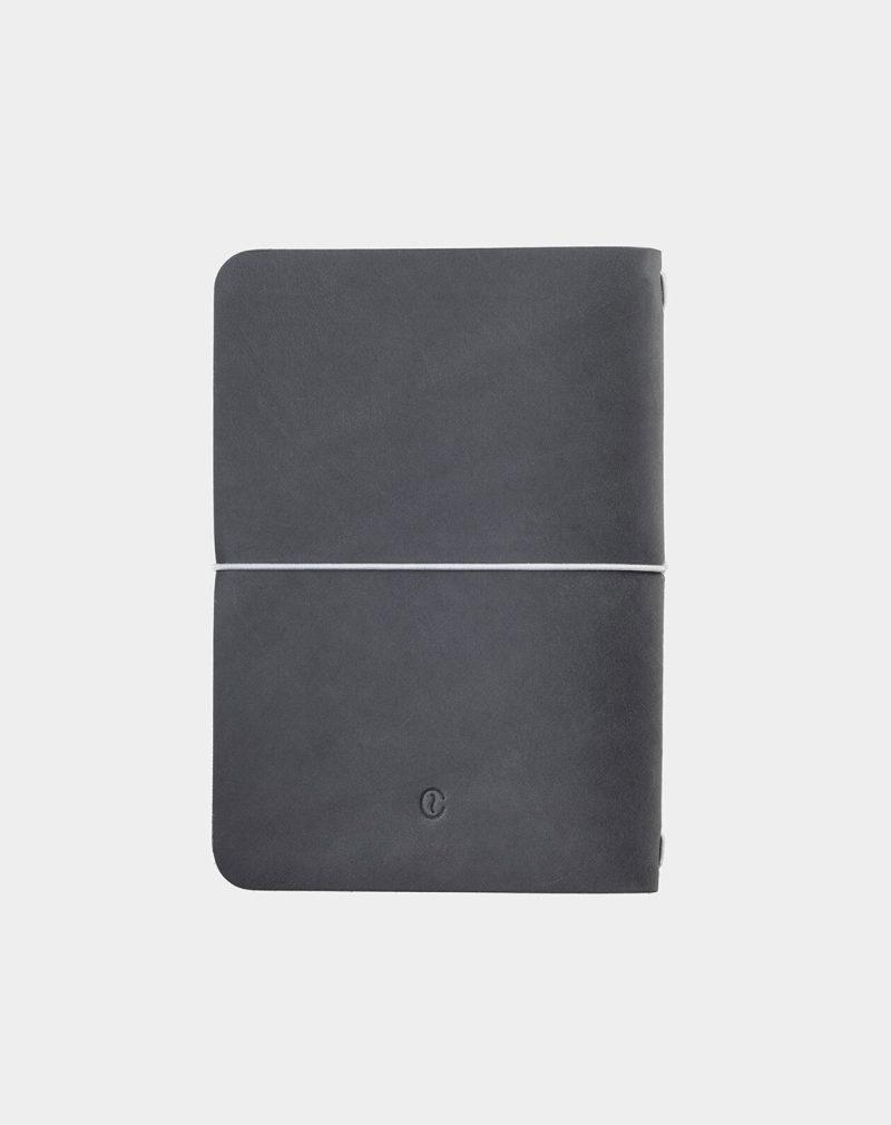 Bloc de notas de cuero gris