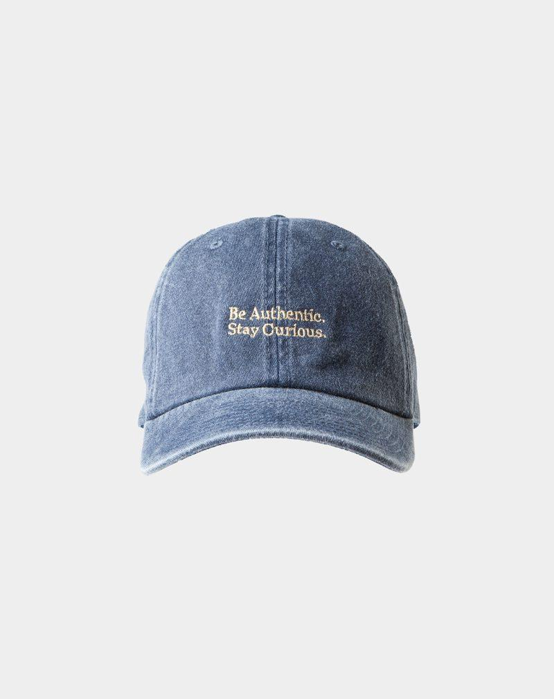 """washed cap navy with """"Be Authentic"""" signature"""