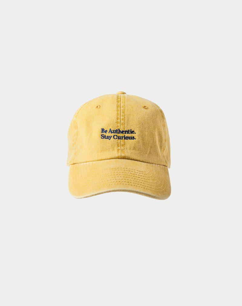 """washed cwashed cap spicy mustard with """"Be Authentic"""" signature"""
