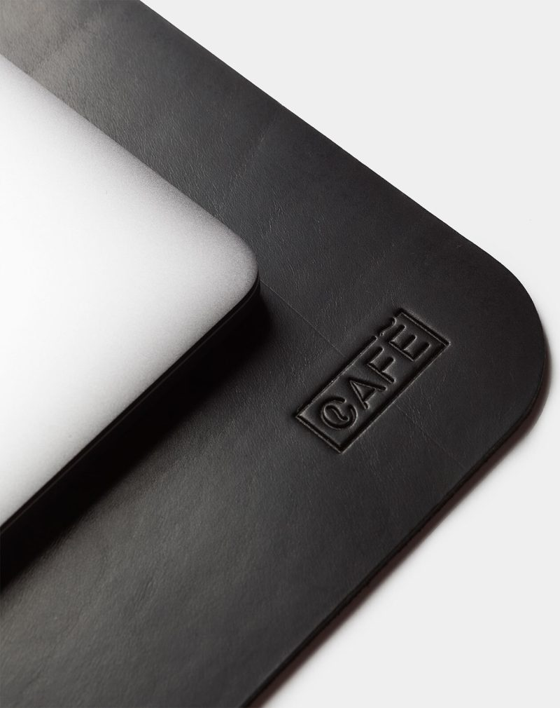 leather desk pad black detail